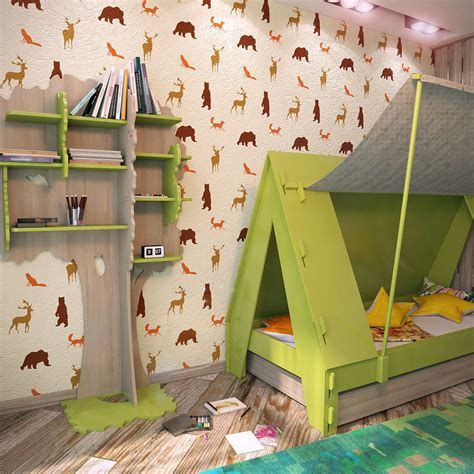 forest animals nursery wall stencils kids room wall