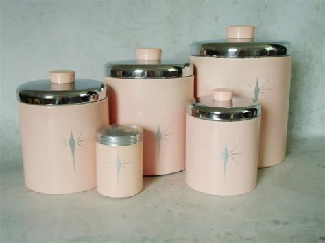 pink kitchen canisters vintage pink tin kitchen canister set pink atomic