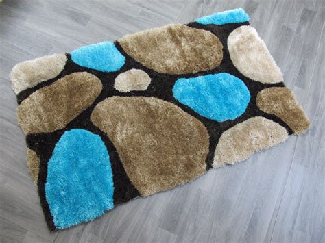 STYLISH THICK SUPER SOFT FLUFFY 3D DEEP TEXTURED DEEP PILE PLAIN SHAGGY RUGS MAT TEAL BLUE COLOUR