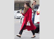 Selma Blair wears red coat reminiscent of bath robe