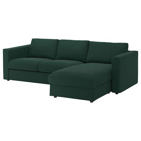 3 seat sectional sofa vimle 3 seat sofa with chaise longue gunnared dark green