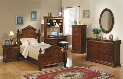 bedroom set with matching desk acme furniture classique cherry kids 4 piece twin
