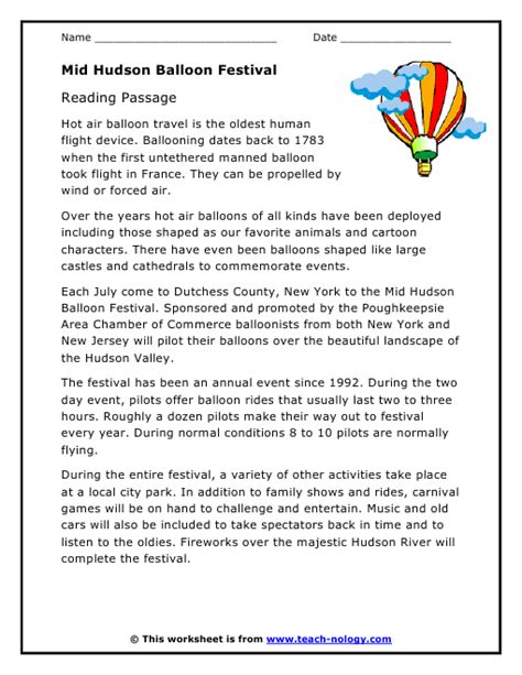 mid hudson balloon festival reading passage