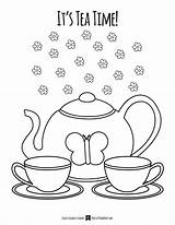Tea Coloring Party Pages Getdrawings sketch template