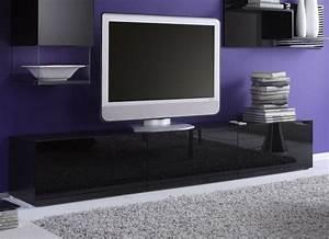 Meuble Laqué Noir : meuble tv bas noir laque ~ Premium-room.com Idées de Décoration