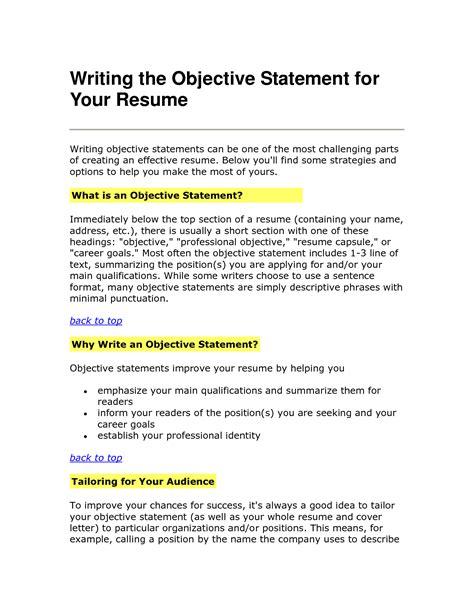 Sle Resume Objective Statement resume objective statements cover latter sle resume