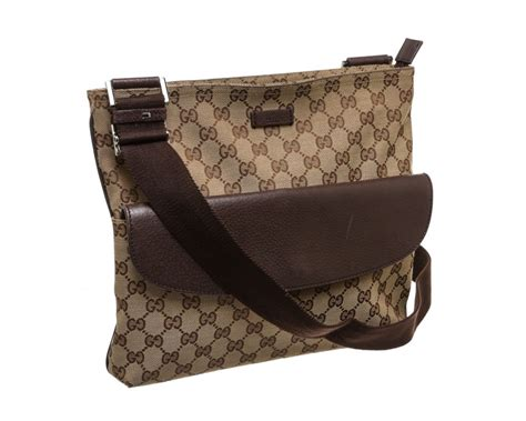gucci beige canvas monogram brown leather crossbody bag