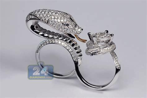 womens diamond snake double ring 18k white gold 4 31 ct