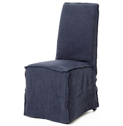 linen chair slipcover lena modern navy blue wrinkle linen slipcover