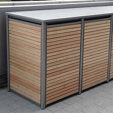 Mülltonnenbox Alu Mit Lärche Horizontal Belattet Ist