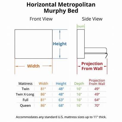 Murphy Bed Horizontal Dimensions Metropolitan Beds Wall
