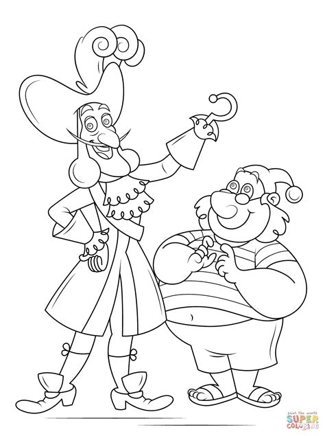 disegni da colorare once upon a time captain hook and mr smee coloring page free printable