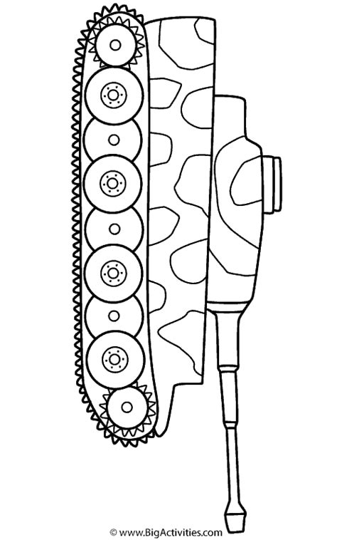 tiger tank  camouflage coloring page transportation