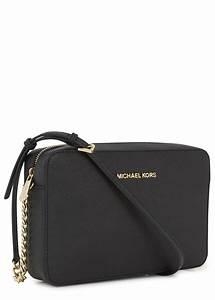 Michael kors Jet Set Black Saffiano Leather Crossbody Bag ...