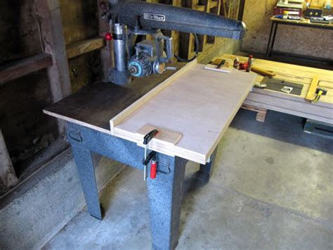 building   sawdust table   dewalt radial arm