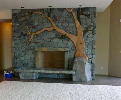 custom stonework fireplace contemporary living room