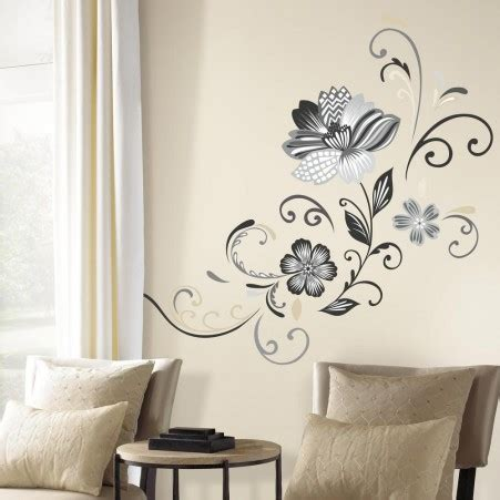 black and white flower scroll peel and stick wall