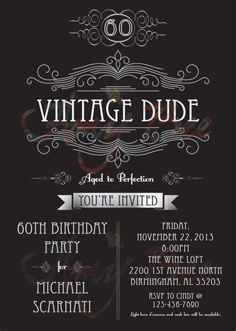 Vintage Dude Invitation   man   birthday   Printable