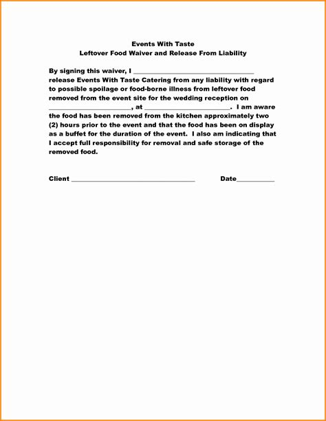Liability Waiver Template Liability Release Letter Liability Form Template Free