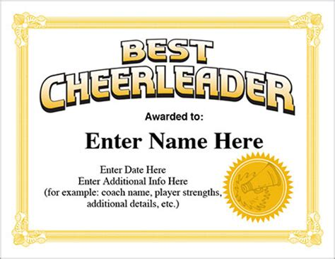 cheerleader certificate award template