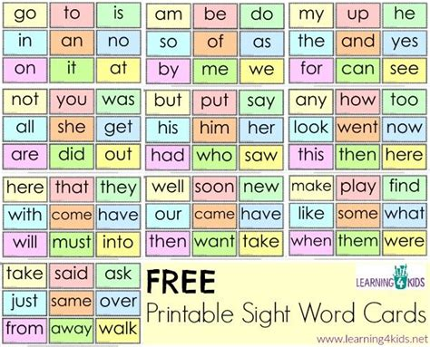 printable sight word cards sight words printables