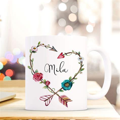 tasse becher mit blumenherz  wunschname kaffeebecher