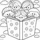 Reading Coloring Children Pages Clip Child Vector Printable Illustration Together Sheets Clipart Boys Books Drawing Cartoon Line Drawings Illustrations Toddlers sketch template