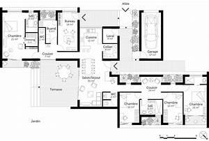 plan maison de plain pied avec suite parentale ooreka With ordinary plan maison etage 100m2 7 plan de maison 100m2 avec sous sol