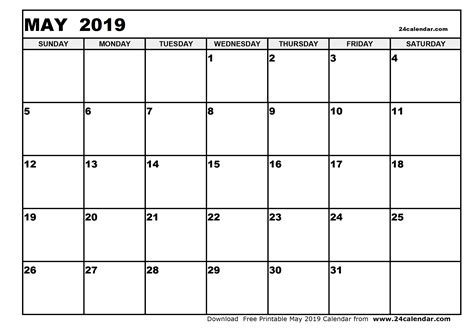 Blank May 2019 Calendar In Printable Format