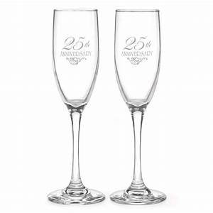25th wedding anniversary champagne flutes With 25th wedding anniversary glasses