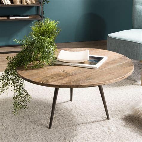 table basse industrielle ronde table basse ronde industrielle en bois de teck et m 233 tal