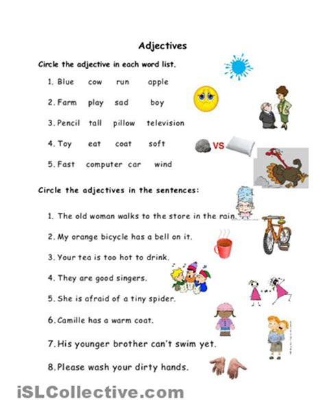 grade 1 sle worksheets on nouns verbs and adjectives