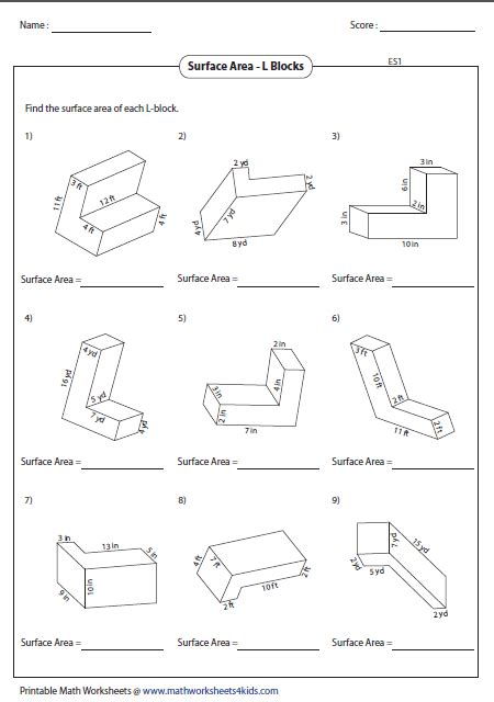 surface area worksheets surface area worksheets