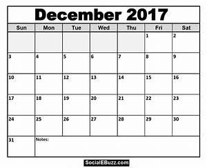 December 2017 Calendar Printable Template with Holidays ...