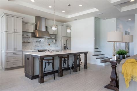 Transitional Kitchen With Flush, Flat Panel Cabinets