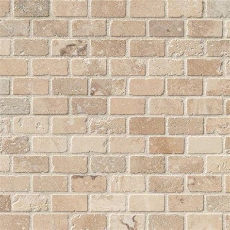 chiaro travertine brick pattern tumbled mosaic tile