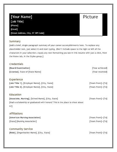Resume Snapshot Exle by Nursing Resume Template Printable Word Excel Templates