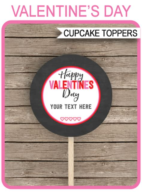 valentines day cupcake toppers template printable