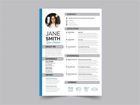Free Photoshop Resume Templates by 20 Best Resume Template Psd Free Graphicslot