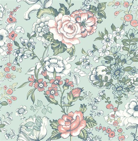 Houzz Living Room Rugs by Ainsley Aqua Boho Floral Wallpaper Farmhouse Wallpaper