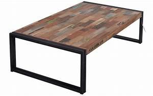 Table Bois Et Fer : table basse rectangulaire fer d poli et lattes de bois de bateau recycl pas cher en vente chez ~ Teatrodelosmanantiales.com Idées de Décoration