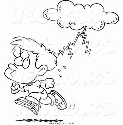 Coloring Cartoon Boy Thunder Lightning Storm Running