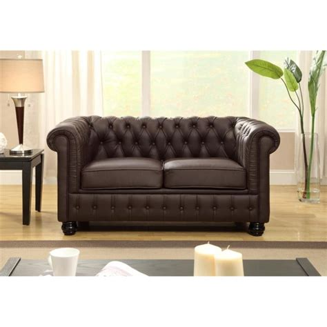 canap 2 places en cuir chesterfield canapé droit chesterfield en cuir et simili 2