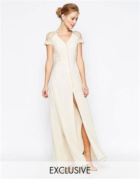 asos maxi kremowa sukienka guziczki koronka 36 w suknie i sukienki szafa pl
