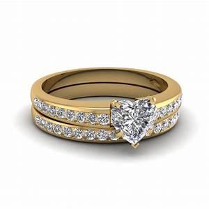 heart channel diamond wedding set in 14k yellow gold With heart diamond wedding ring set