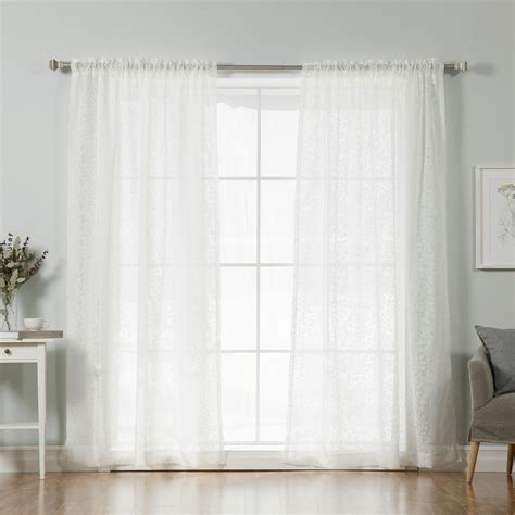 Pattern Drapes - best home fashion 84 in l white branch pattern sheer
