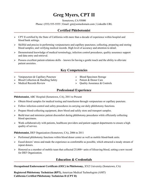 Phlebotomy Resume by Phlebotomist Resume Sle