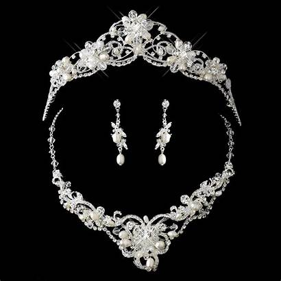 Pearl Tiara Crystal Necklace Jewelry Bridal Swarovski
