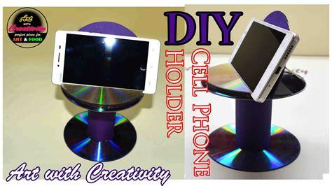 diy cell phone holder    waste cddvd art