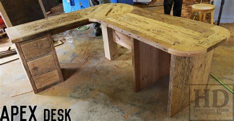 reclaimed wood corner desk custom reclaimed wood desks angled design blog